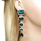 Ever Faith Art Deco lacrima orecchini verde austriaco di cristallo Gold-Tone N03517-6