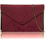 Xardi London - Pochette media da donna, busta piatta, in pelle scamosciata sintetica, da sera, UK