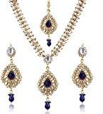 Dancing Girl d7b - Set composto da collana etnica in stile indiano, con perle finte e foglie di Kundan, colore: Blu