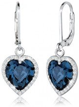 Elli–Orecchini da donna cuore argento Sterling 925con cristalli Swarovski taglio a brillante blu–0301651215