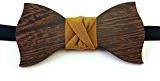 Papillon in legno di wenge, con nodo in seta color senape e cinturino regolabile (Cerimonia, Matrimonio, Gadget, Regalo)