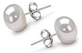 Orecchini Perla d'acqua dolce gioielli di perle per regali san valentino donna coltivate con 7 mm 925 Argento di VIKI LYNN