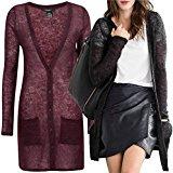 Cardigan velato da donna, in lana mohair, colori: vinaccia o nero, taglia: dalla 40 alla 60