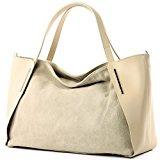 Italiana. Borsa donna shopper tracolla borsa tempo libero Business elegante vera pelle camoscio T126