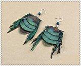 Fatto a mano piuma di pavone orecchini gancio in argento pesce ganci e verde con perline Accent