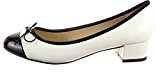 Sopily - Scarpe da Moda ballerina alla caviglia donna nodo Tacco a blocco 3.5 CM - Bianco