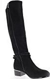 Donne nere stivali con tacco in camoscio aspetto di 4cm con fini merletti e strass