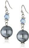 1928 Jewelry - Orecchini con pietra pendente color zaffiro, effetto perlato, colore: argento