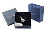 Le Premium® - Collana placcata in oro bianco 18 k con pendente a forma di farfalla con cristalli Swarovski,rosa chiaro, in confezione regalo