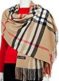 RW Fashion, sciarpa delle donne - ha rubato, classico Cashmere & viscosa, Beige (camel) a scacchi - STK403