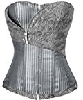 Charmian Women's Brocade Stripe Boned Gothic Retro Overbust Corset with Zipper