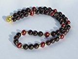Collana/collana in granato rosso scuro perle, placcati in argento Sterling perline & bordeaux coltivate d' acqua dolce–rossa–perline. L.: ca. 50cm