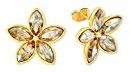 Noelani Orecchini da donna Swarovski Elements, a fiore, in ottone parzialmente placcato oro con cristalli - crema 565967