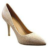 Sopily - Scarpe da Moda scarpe decollete stiletto alla caviglia donna lucide Tacco Stiletto tacco alto 9 CM - Oro