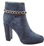 Sopily - Scarpe da Moda Stivaletti - Scarponcini alla caviglia donna catena Tacco a blocco tacco alto 10 CM - Blu