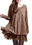 ZANZEA Donna Maglione Maglia Vestito Corto Pizzo Casual Elegante Cotone Moda Maniche Lunghe