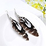 Lureme® stile bohemien piume modello marrone ciondola gli orecchini per le donne e le ragazze (02004757)