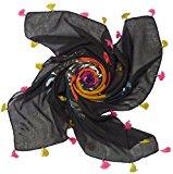Bees Knees Fashion - Sciarpa - Rosa nera stampa foulard con nappe