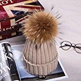 ESYN Le donne inverno pelliccia di procione sfera Beanie di sport esterni casual Cappello di lana sci Bobble Protezione Con grande 15 centimetri Pompon
