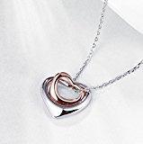 """BS-Ciondolo collezione """"Amanti"""", con due cuori intrecciati, in argento Sterling e oro rosa, da donna"""