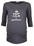 Happy Mama Donna Magliette Premaman T-shirt Keep Calm I'm Pregnant stampa. 656p (Grafite, IT 40/42)