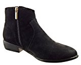 Sopily - Scarpe da Moda Stivaletti - Scarponcini cavalier low boots alla caviglia donna zip Tacco a blocco 3 CM - Nero