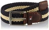 Tommy Hilfiger - New Adan Stp Belt, Cintura da uomo, Multicolore(mehrfarbig (snow white - eur / midnight 118)), L