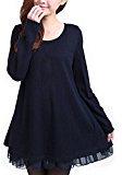 ZANZEA Donna Maglione Invernale Maglia Pizzo Vestito Corto Elegante Casual Moda Maniche Lunghe