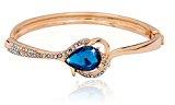 S & E da donna in oro rosa lucido con cristalli, colore: blu scuro-Bracciale