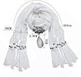 Lureme® Annata Colore solido stile bohemien con resina goccia d'acqua nappe pietra sciarpa della collana (01003059-3) (grigio)