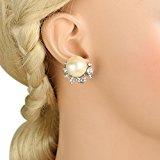 Ever Faith Austriaco di cristallo di colore avorio simulato della perla del fiore nuziale Orecchini A07216-2