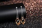 GoSparking cristallo dell'oro lungo goccia Sterling Silver Orecchini con cristallo austriaco per le donne