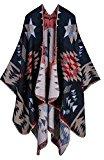 Peacoco Poncho da donna a quadri, caldo, spesso, in tartan