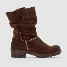 Boots in pelle scamosciata con pompon BRISI