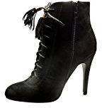 Angkorly - Scarpe da Moda Stivaletti - Scarponcini low boots sexy donna pon pon frange lacci Tacco Stiletto tacco alto 10.5 CM - Nero