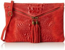 CTM Pochette da donna, borsetta a spalla in vera pelle made in Italy - 29x19x2 Cm