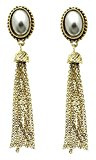beyoutifulthings 1paio di orecchini da donna in acciaio inox altvergoldet appendere con perle grigio e frange in metallo Lunghezza: 7.6cm connettori