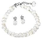 Perle di Acqua Dolce 7mm 925Orecchini in argento Sterling e perle braccialetto (19+ 3cm) gioielli set con scatola regalo