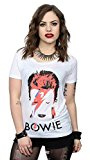 David Bowie Donna Aladdin Sane Distressed Maniche arrotolate T-shirt