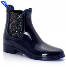 Boots Sardenha, PVC aspetto verniciato, colori indaco