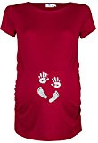 Happy Mama. Donna Maglietta Premaman Top T-shirt Mani e Orma del Bambino. 013p