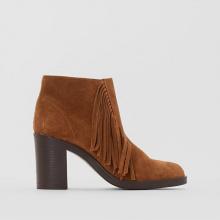 Boots pelle con tacco dettaglio frange SHANE FRINGES