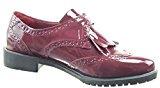 Sopily - Scarpe da Moda Mocassini ballerina alla caviglia donna perforato fibbia verniciato Tacco a blocco 3 CM - Rosso