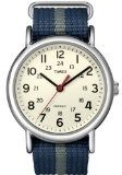 Timex T2N654 Men's Weekender White Dial Blue and Gray Slip Thru Nylon Strap Stainless Steel Watch