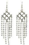 1 paio di orecchini da donna in acciaio beyoutifulthings argento lampadario alto tempo tempestato con Zirconia trasparenti Dimensioni lunghezza 5,1 cm