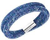 Swarovski Stardust  5221604, Bracciale doppio, Donna, Blu, 38 cm