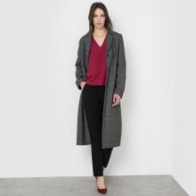 Cappotto lungo spigato, 40% lana