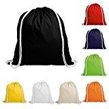 eBuyGB Pack di 10 bambini cotone con coulisse zaino - palestra, nuoto, sport, PE, Book Bag
