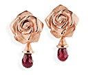 Orecchini da donna in argento 925, Rose of Antoine, rosso granata, taglio brillante - D ROF 22-5/RG
