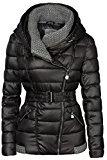 Giacca da sci, invernale, con colletto fatto a maglia e ampio cappuccio, corta, da donna